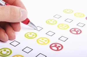Customer satisfaction questionnaire showing marketing or business concept