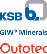 KSB, GIW, and Outotec logos